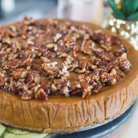 Keto Pumpkin Pie with Candied Pecans