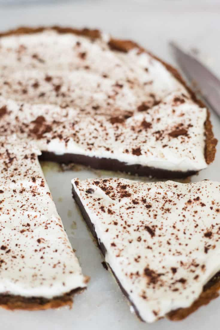 keto chocolate pie, keto chocolate silk pie, keto chocolate pie recipe, low carb chocolate pie, low carb chocolate silk pie, low carb chocolate pie recipe, keto coconut flour pie crust, sugar free chocolate pie, gluten free chocolate pie,